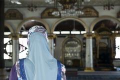 Dentro una moschea sulla città di Melaka, la Malesia Fotografie Stock