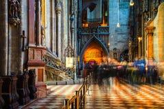 Dentro una st Stephen Cathedral con la bella decorazione a Vienna, l'Austria Fotografia Stock Libera da Diritti