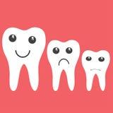 Dents avec des émotions sur un rouge Images stock