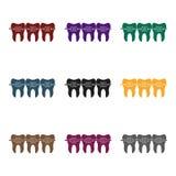 Dents avec l'icône de bagues dentaires dans le style noir d'isolement sur le fond blanc Illustration de vecteur d'actions de symb Photo stock