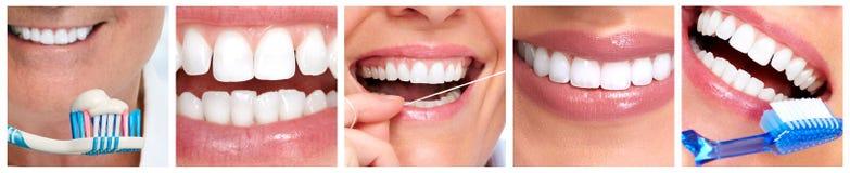 Dents avec la brosse à dents Images libres de droits