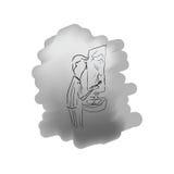 Dents de brossage d'homme dans le miroir avant illustration stock