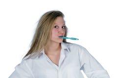 Dents de brossage de femme Photos libres de droits