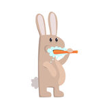 Dents de brossage de lapin mignon de bande dessinée avec le caractère coloré de brosse à dents et de pâte, illustration animale d Photo stock