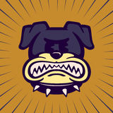 Dents de meulage de bouledogue de bande dessinée de vintage de caractère de chien fâché de grondement illustration de vecteur
