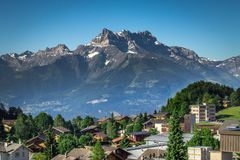 Dents du Midi. View of Dents du Midi from Leysin, Switzerland on a hot summers day Stock Photo