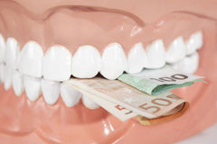 Dentures biting euro banknotes close up Royalty Free Stock Photos