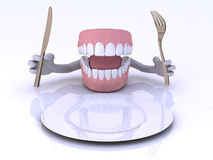 Dentures with hands and cutlery Royalty Free Stock Photo