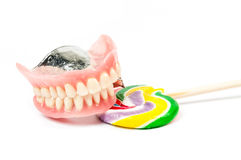 Dentures with lollipops Stock Photography