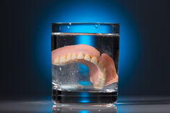 Dentures in a water glass Stock Photography