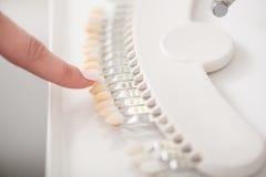 Dentysta demonstruje typodont w pokoju Zdjęcie Stock