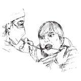 Dentysta egzamininuje chłopiec zęby, ręka rysujący doodle, nakreślenie royalty ilustracja