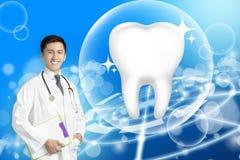Dentysta lekarka pokazuje Zdrowego ząb z rozjarzonym pojęciem zdjęcia royalty free
