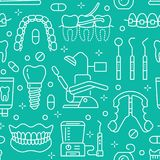 Dentysta, orthodontics błękitny bezszwowy wzór z kreskowymi ikonami Stomatologiczna opieka, sprzęt medyczny, brasy, zębu prosthes royalty ilustracja