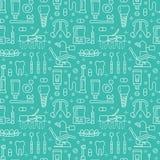 Dentysta, orthodontics błękitny bezszwowy wzór z kreskowymi ikonami Stomatologiczna opieka, sprzęt medyczny, brasy, zębu prosthes ilustracji
