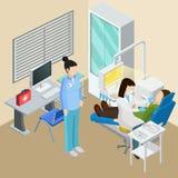 Dentysty Biurowy Isometric skład ilustracji