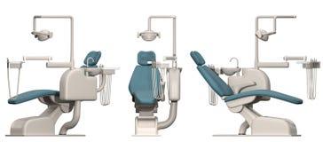 Dentysty krzesło z narzędziami na białym tle trzy widoku royalty ilustracja