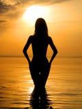 Denuded girl on sunset 1 Stock Photo