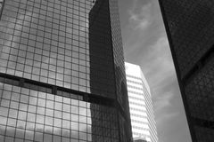 Denver Architecture. Simple black and white photo of some of Downtown Denver's buildings Stock Images