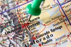 Denver - auf der Karte Stockfotografie