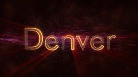 Denver - Błyszcząca loopingu miasta imienia teksta animacja royalty ilustracja