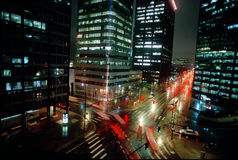 Denver bij nacht Stock Afbeeldingen