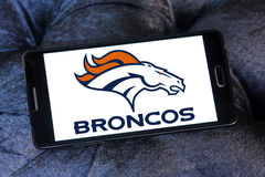 Denver Broncos american football team logo. Logo of Denver Broncos american football team on samsung mobile. The Denver Broncos are an American football team royalty free stock image