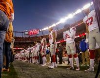 Denver Broncos spelare på sidlinje Royaltyfria Foton