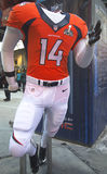Denver Broncos  team uniform presented on Broadway during Super Bowl XLVIII week in Manhattan Stock Photography