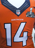Denver Broncos team uniform with Super Bowl XLVIII logo presented during Super Bowl XLVIII week in Manhattan Royalty Free Stock Photos