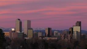 Denver céntrica antes del time lapse del amanecer almacen de video