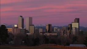 Denver céntrica antes del time lapse del amanecer metrajes