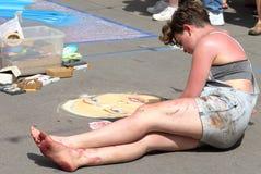 Denver Chalk Art Festival på den Larimer fyrkanten royaltyfri foto