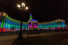 Denver City and County Building 2017 holiday lights Stock Photos