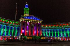 Denver City and County Building 2017 holiday lights Stock Photography