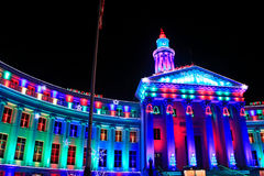 Denver City and County Building illuminated at night, Colorado. Royalty Free Stock Images