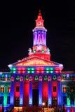 Denver City and County Building illuminated at night, Colorado. Stock Photo