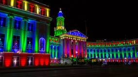 Denver City e condado que constroem 2017 luzes do feriado imagem de stock