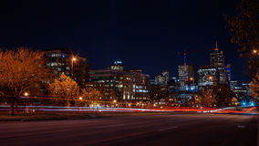 Denver City at Night. A long exposure shot of Denver downtown at night in winter Stock Photography