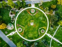 Denver city park garden aerial view. Denver city park circle garden aerial view stock photos