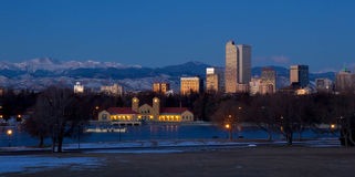 Denver City Park in the Winter. Eary morning sunrise on Denver City Park in the winter with a frozen lake royalty free stock photo