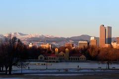 Denver City Park in the Winter. Eary morning sunrise on Denver City Park in the winter with a frozen lake stock photo