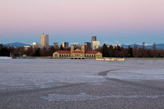Denver City Park in the Winter. Eary morning sunrise on Denver City Park in the winter with a frozen lake stock photography