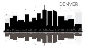 Denver City skyline black and white silhouette with reflections. Stock Image