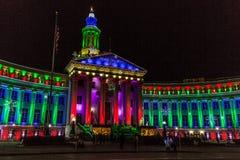 Denver City und Grafschaft, die 2017 Lichterkette errichten Stockfotografie