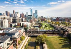 Denver cityscape aerial view with bridges over cherry creek rive Stock Image