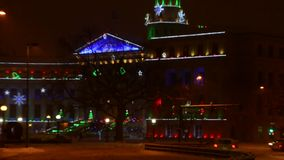 Denver Civic Center Christmas lights in snow stock footage