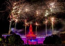 Denver Co 4. von Juli-Feuerwerken Stockbild