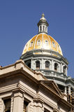 Denver Colorado Capital Building Gold Dome. Architectural view of Denver Colorado capitol building including gold dome and classic stone work stock photography