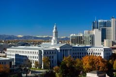 Denver, Colorado City Hall with Colorful Fall Leaves and the Roc Royalty Free Stock Photo